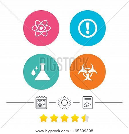 Attention and biohazard icons. Chemistry flask sign. Atom symbol. Calendar, cogwheel and report linear icons. Star vote ranking. Vector