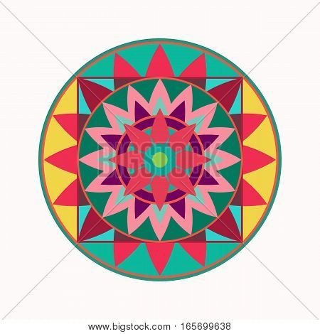Mandala tattoo icon. Geometric round stylized ornament. Harmony, luck, infinity symbol. Green, red, yellow colored. Vector