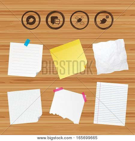 Business paper banners with notes. Birds icons. Social media speech bubble. Chat bubble with three dots symbol. Sticky colorful tape. Vector