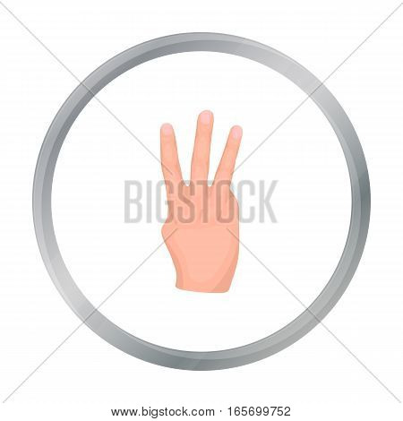 Three fingers icon in cartoon style isolated on white background. Hand gestures symbol vector illustration.