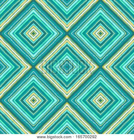 Striped diagonal rectangle seamless pattern. Square rhombus lines with torn paper effect. Ethnic background. Green, blue, turquoise, yellow colors. Vector