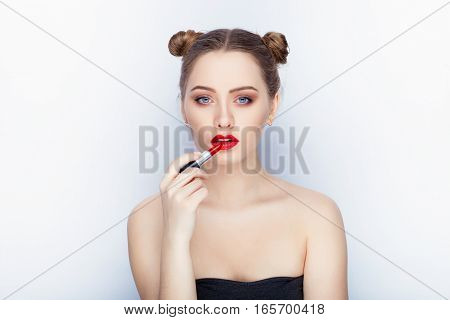 Young Pretty Woman Trendy Makeup Bright Red Lips Bun Hairstyle Bare Shoulders Act The Ape With Lipst