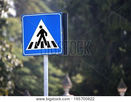 Road Sign Warning Pedestrian Crossing