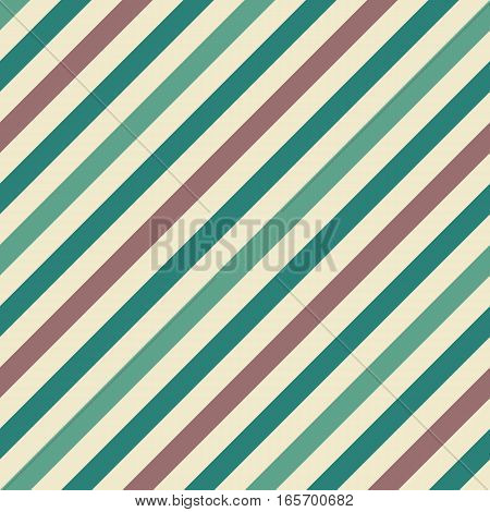 Seamless geometric pattern. Stripy texture for neck tie. Diagonal contrast strips on background. Beige, brown, turquoise pastel colors. Vector