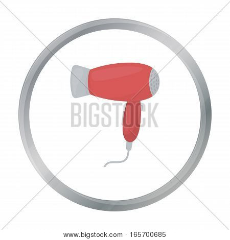 Hair dryer icon in cartoon style isolated on white background. Hairdressery symbol vector illustration.
