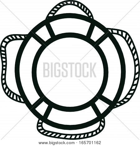 Lifebuoy contour icon isolated on white background. Security concept.