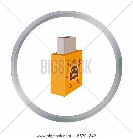 USB with virus icon in cartoon design isolated on white background. Hackers and hacking symbol stock vector illustration.