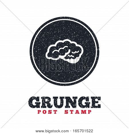 Grunge post stamp. Circle banner or label. Brain with cerebellum sign icon. Human intelligent smart mind. Dirty textured web button. Vector