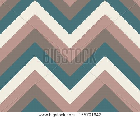 Striped, zigzagging seamless pattern. Zig-zag line texture. Stripy geometric background. Brown, turquoise, beige colored. Vector