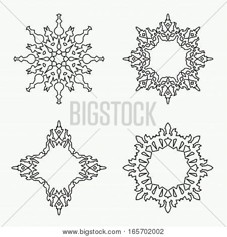 Christmas snowflake icon set. Thin line signs. Ornamental lace view buttons. Winter, New Year, holiday symbol. Black silhouette on white background. Vector isolated