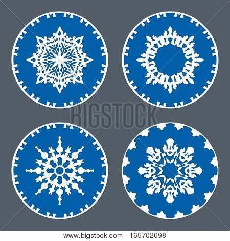 Christmas snowflake icon set. Ornamental view snow signs. Winter, New Year, holiday symbol. White blue silhouette on gray background. Vector isolated