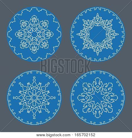 Christmas snowflake icon set. Thin line signs. Ornamental lace view buttons. Winter, New Year, holiday symbol. White blue silhouette on gray background. Vector isolated