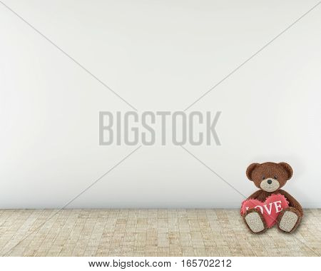 bear siting on the floor with heart. 3d rendering