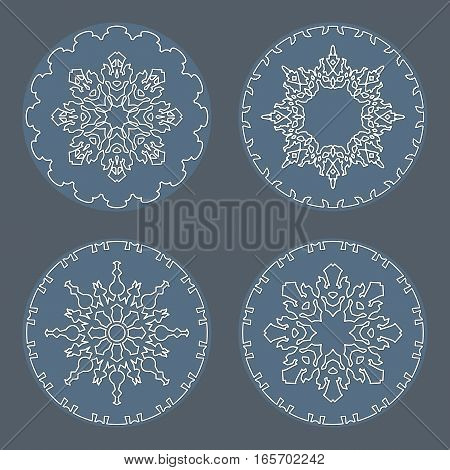 Christmas snowflake icon set. Thin line signs. Ornamental lace view buttons. Winter, New Year, holiday symbol. White gray silhouette on background. Vector isolated