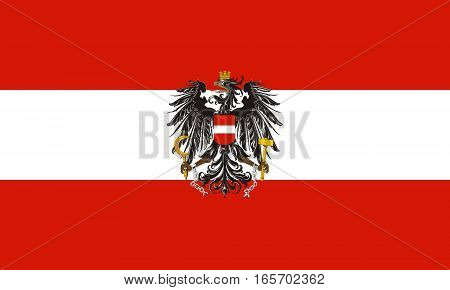 flat austrian flag with eagle in the colors red and white