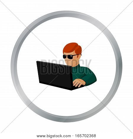 Computer hacker icon in cartoon design isolated on white background. Hackers and hacking symbol stock vector illustration.