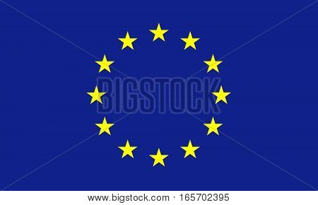 flat european union flag in the colors blue and yellow