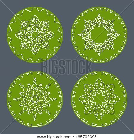 Christmas snowflake icon set. Thin line signs. Ornamental lace view buttons. Winter, New Year, holiday symbol. White green silhouette on gray background. Vector isolated