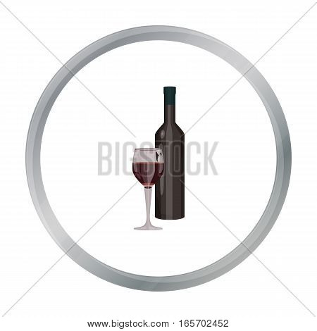 Red wine icon in cartoon style isolated on white background. Greece symbol vector illustration.