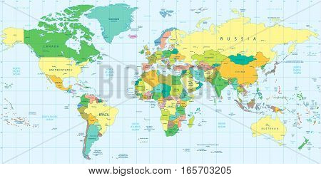 Hihgly Detailed Political World map. Vector illustration.