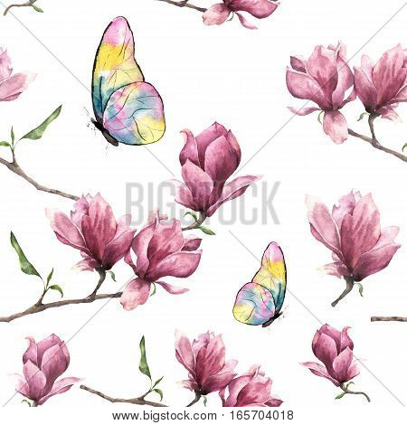 Watercolor seamless pattern with magnolia and butterfly.
