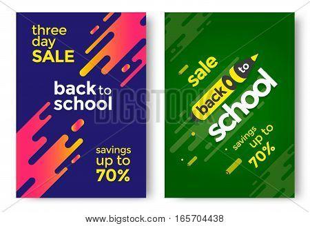 Back to School sale poster design template. Vector illustration