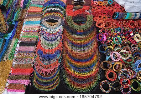 indigenous jewelry in the artisan market in otavalo ecuador