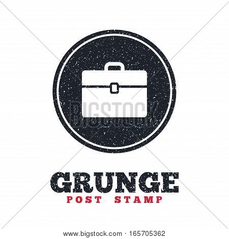 Grunge post stamp. Circle banner or label. Case sign icon. Briefcase button. Dirty textured web button. Vector