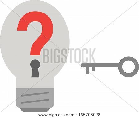 Grey vector light bulb with red question mark and grey key.