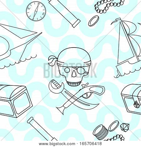 Seamless background with line art pirate theme elements vector illustration