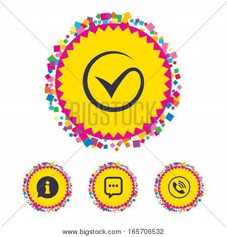 Web buttons with confetti pieces. Check or Tick icon. Phone call and Information signs. Support communication chat bubble symbol. Bright stylish design. Vector