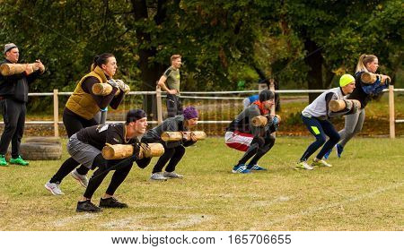 Kyiv Ukraine - October 08/2016. Outdoor CrossFit training preparation for competition