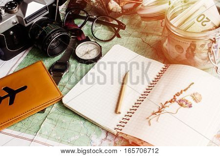 Wanderlust And Adventure Concept, Jar With Money For Travel Compass Camera Passport On Map, Top View