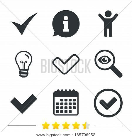 Check icons. Checkbox confirm circle sign symbols. Information, light bulb and calendar icons. Investigate magnifier. Vector