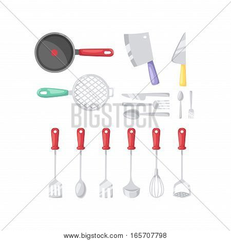 Kitchen knife and cooking icons set. Kitchenware and utensils food preparation vector illustration for restaurants cafe and culinary blog in flat design.