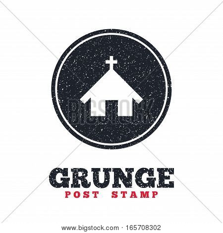 Grunge post stamp. Circle banner or label. Church icon. Christian religion symbol. Chapel with cross on roof. Dirty textured web button. Vector