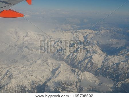 Alps, Italy - January 20, 2016 A unique view of the Alps in the vicinity of Turin, from the window of the plane.