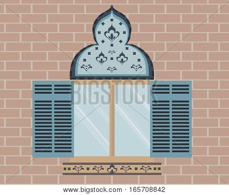 Oriental Ornamented window on brick background. Front view Vector. Yellow color