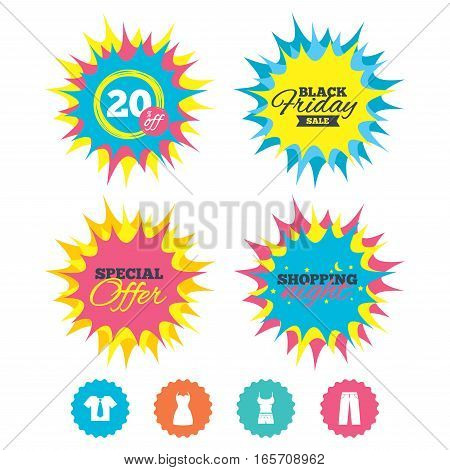 Shopping night, black friday stickers. Clothes icons. T-shirt with business tie and pants signs. Women dress symbol. Special offer. Vector