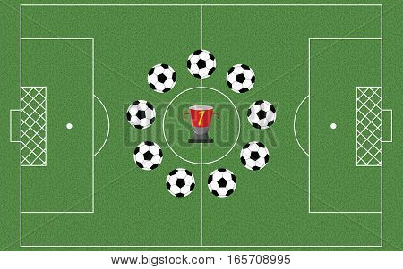 Football field with playing balls in a circle. Champions cup. Soccer field  - Vector illustration