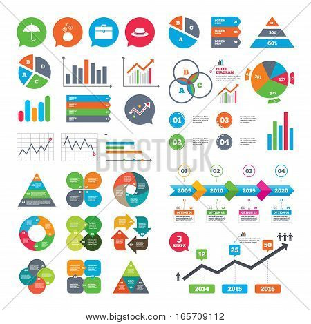 Business charts. Growth graph. Clothing accessories icons. Umbrella and headdress hat signs. Wallet with cash coins, business case symbols. Market report presentation. Vector