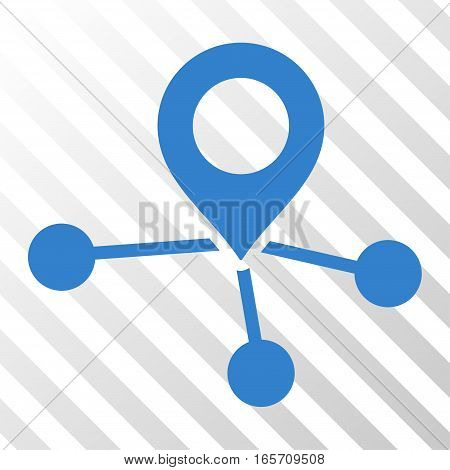 Cobalt Locations interface icon. Vector pictogram style is a flat symbol on diagonal hatch transparent background.