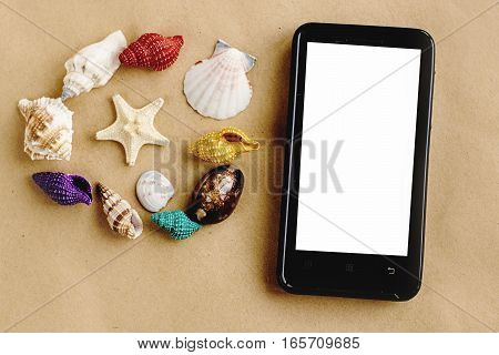 Phone With Empty Screen And Colorful Shells On Sandy  Craft  Background, Summer Vacation Travel  Con