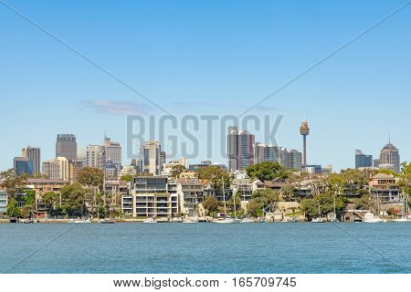SYDNEY AUSTRALIA - OCTOBER 11 2016: Waterside Apartments Birchgrove Parramatta River Sydney New South Wales Australia