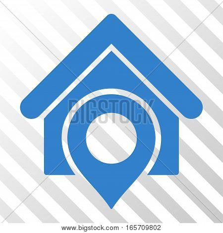 Cobalt Realty Location toolbar pictogram. Vector pictogram style is a flat symbol on diagonal hatch transparent background.