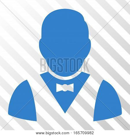 Cobalt Waiter interface toolbar icon. Vector pictogram style is a flat symbol on diagonally hatched transparent background.