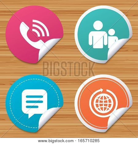 Round stickers or website banners. Group of people and share icons. Speech bubble and round the world arrow symbols. Communication signs. Circle badges with bended corner. Vector