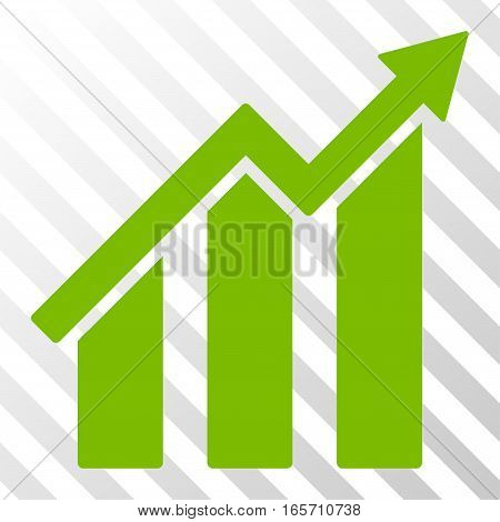 Eco Green Growth Chart interface toolbar icon. Vector pictogram style is a flat symbol on diagonally hatched transparent background.