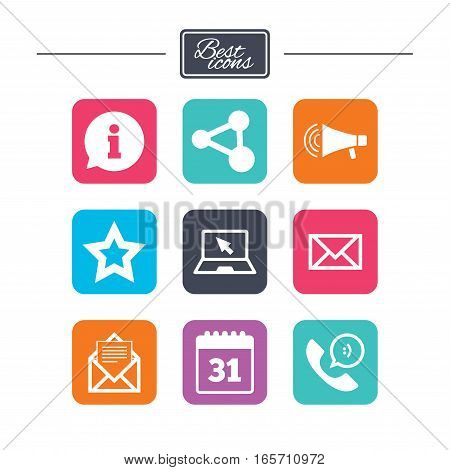 Communication icons. Contact, mail signs. E-mail, information speech bubble and calendar symbols. Colorful flat square buttons with icons. Vector