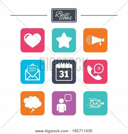 Mail, contact icons. Favorite, like and calendar signs. E-mail, chat message and phone call symbols. Colorful flat square buttons with icons. Vector